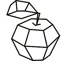 apple. polygonal design black and white drawing Photographic Print