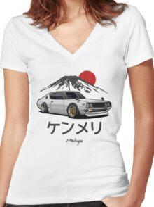 Nissan Skyline GTR Kenmeri (white) Women's Fitted V-Neck T-Shirt