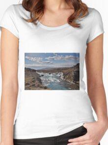 Bjarnafoss waterfall Women's Fitted Scoop T-Shirt