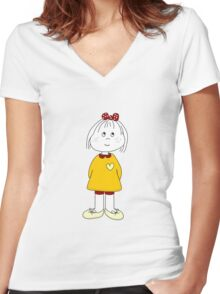 Cute Little Girl Whit Yellow Dress, Red Hair Ribbon And a Big Heart Women's Fitted V-Neck T-Shirt