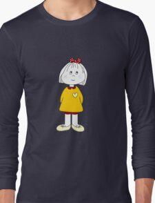 Cute Little Girl Whit Yellow Dress, Red Hair Ribbon And a Big Heart Long Sleeve T-Shirt