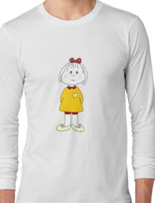 Cute Little Girl Whit Yellow Dress, Red Hair Ribbon And a Big Heart Long Sleeve T-Shirt