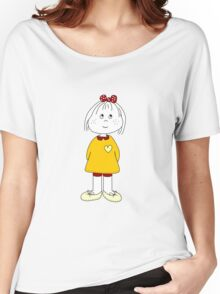 Cute Little Girl Whit Yellow Dress, Red Hair Ribbon And a Big Heart Women's Relaxed Fit T-Shirt
