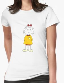 Cute Little Girl Whit Yellow Dress, Red Hair Ribbon And a Big Heart Womens Fitted T-Shirt