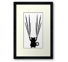 Black Cat Silhouette with Scratches 4 Framed Print