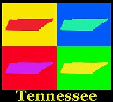 Colorful Tennessee Pop Art Map by KWJphotoart
