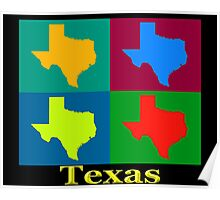 Colorful Texas Pop Art Map Poster