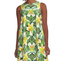 Watercolor White Lilies Green Leaves Aloha Botanical A-Line Dress