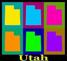 Colorful Utah State Pop Art Map by KWJphotoart