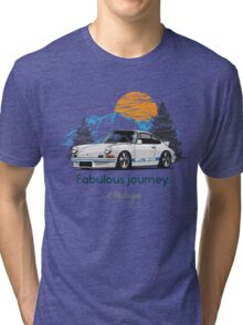 Fabulous Journey. Porsche 911 (white) Tri-blend T-Shirt