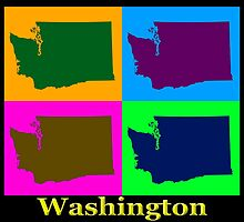 Colorful Washington State Pop Art Map by KWJphotoart