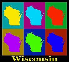 Colorful Wisconsin Pop Art Map by KWJphotoart