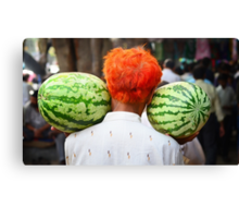 2 Watermelons and 1 Orange Canvas Print