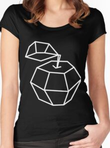 apple. Vector illustration, polygonal design black and white drawing Women's Fitted Scoop T-Shirt