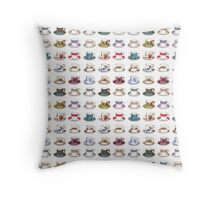 Vintage Teacups Repeat Pattern Throw Pillow