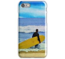 Watercolor painting of a surfer on the beach iPhone Case/Skin