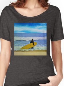 Watercolor painting of a surfer on the beach Women's Relaxed Fit T-Shirt