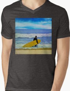 Watercolor painting of a surfer on the beach Mens V-Neck T-Shirt