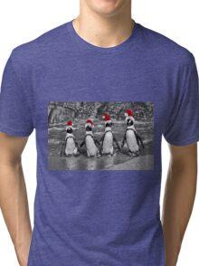 Penguins with Santa Claus caps Tri-blend T-Shirt