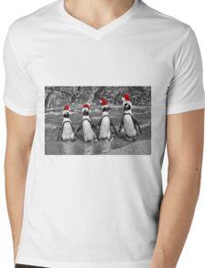 Penguins with Santa Claus caps Mens V-Neck T-Shirt