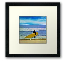 Watercolor painting of a surfer on the beach Framed Print
