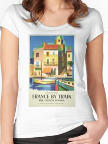 Vintage France Travel Poster Women's Fitted Scoop T-Shirt