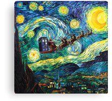 Tardis Santa Starry Night Canvas Print