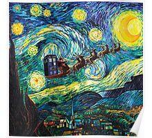 Tardis Santa Starry Night Poster