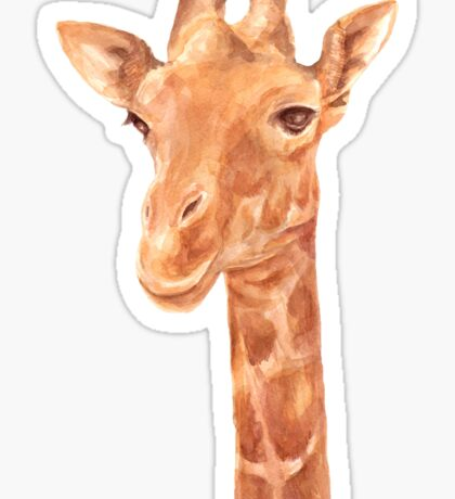 Watercolor Portrait of Giraffe Sticker