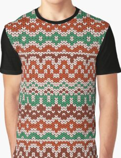 Colorful seamless knitting pattern. Warm traditional  texture. Winter wallpaper.  Graphic T-Shirt