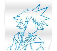 Sora bust lineart light blue Poster