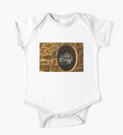 Illuminated Night View - Beautiful Revival House Through a Fence Window One Piece - Short Sleeve