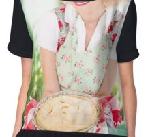 happy woman with cake Chiffon Top