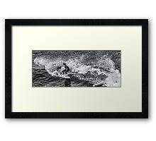 Surfer in Mono Framed Print