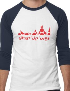 Shut Up Legs Red Polka Dot Mountain Profile Men's Baseball ¾ T-Shirt