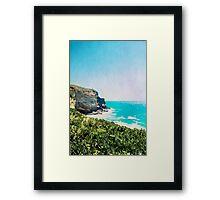 Dunedin coast in watercolor, New Zealand Framed Print