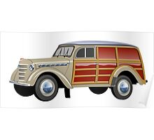 Retro woody van Poster