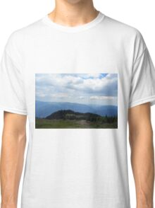 Beautiful natural scenery with mountains view and cloudy sky. Classic T-Shirt