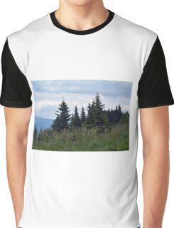 Beautiful natural scenery with mountains view and cloudy sky. Graphic T-Shirt
