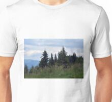 Beautiful natural scenery with mountains view and cloudy sky. Unisex T-Shirt