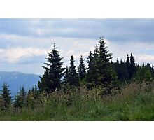 Beautiful natural scenery with mountains view and cloudy sky. Photographic Print