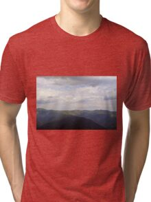 Beautiful natural scenery with mountains view and cloudy sky. Tri-blend T-Shirt