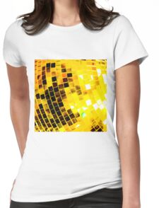 Gold Funky Disco Ball Womens Fitted T-Shirt