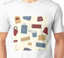 Seamless Travel Pattern with Baggage and Suitcases Unisex T-Shirt