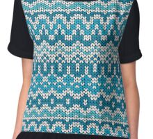 Christmas seamless pattern. Knitting  traditional texture.   Blue winter background. Chiffon Top
