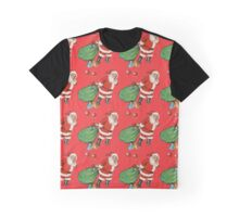 Vintage Santa with Sack Repeating Pattern Graphic T-Shirt