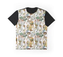 Vintage Alice in Wonderland Repeating Pattern Graphic T-Shirt
