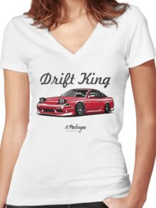 Nissan 240SX (red) Women's Fitted V-Neck T-Shirt