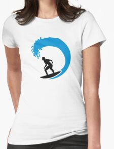 Surfer wave Womens Fitted T-Shirt