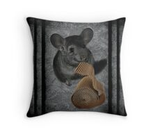 CHINCHILLA (LITTLE CHINCA) NIBBLING CARBOARD AND LOVIN IT DECORATIVE THROW PILLOW & TOTE BAG-SWEET Throw Pillow